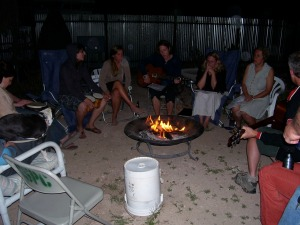 singing and telling stories around the fire